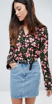 cherry blossom printed blouse