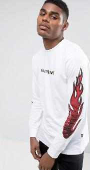 long sleeve t shirt with flame  print  white