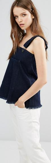 elise dungaree top with raw hem