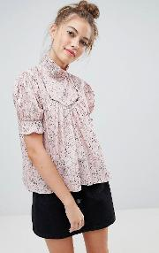 blouse with frill collar in ditsy floral