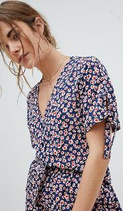 cropped blouse with tie sleeve detail in ditsy floral print