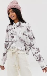 Blouse With Roman Faces Print