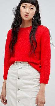 boucle knit crop jumper