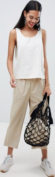 cropped woven wide leg trousers