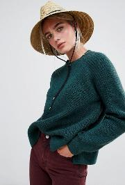 Diagonal Ribbed Knit Jumper