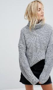 elongated sleeve roll neck jumper