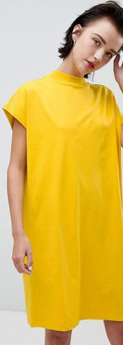 high neck dress in yellow