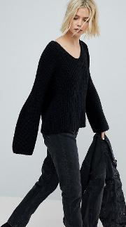 v neck ribbed knit jumper