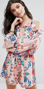 All Over Printed Cold Shoulder Playsuit