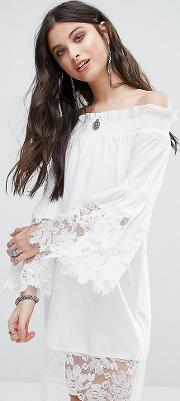 Allover Lace Crochet Off Shoulder Dress