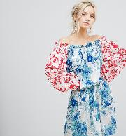 allover mix match floral offshoulder mini dress with fluted sleeve detail