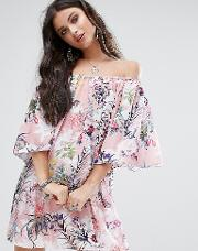 Off Shoulder All Over Printed Smock Dress