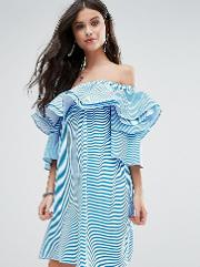 Off Shoulder Boned Mini Dress With Volumnious Ruffle Sleeve Detail