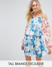 allover mix match floral off shoulder mini dress with fluted sleeve detail