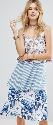 allover printed layered cami strap swing dress