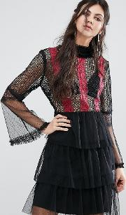 contrast lace panel mini skater dress with fluted sleeves