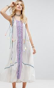 Embroidered Mirror Detail Maxi Dress With Tassel Ties