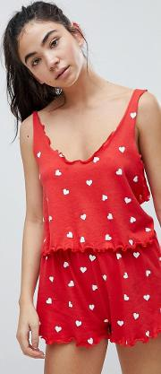 valentines all over heart crop pyjama top