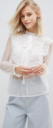 Blouse With Tie Neck  Ruffle Trim In Sheer