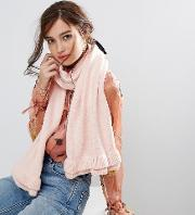 oversized scarf with frill detail