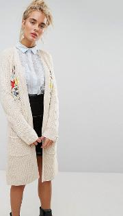 Relaxed Cardigan With Floral Embroidery In Rib