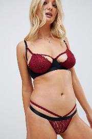 cut out strappy lace thong in berry