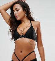 Plunge Bikini Top With Exposed Cradle  Chain   Cup