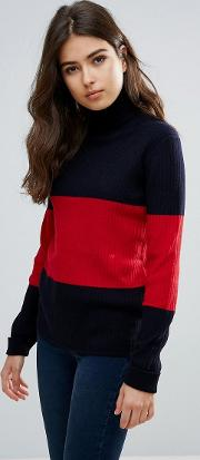 Wood  Joyce Stripe Wool Turtleneck Jumper