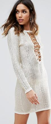 metallic crochet dress with lace up detail