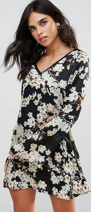 Show Me The Way Magic Flower Printed Tea Dress With Trim Inserts