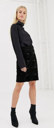 Belted Suede Pencil Skirt