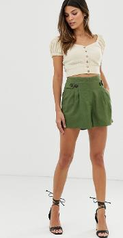 Button Detail Linen Shorts