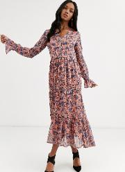 Floral Maxi Dress With Gather Detail