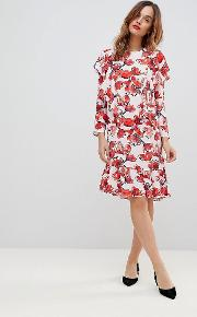 graphic floral frill shift dress