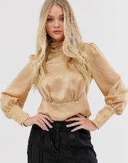 High Neck Blouse With Volume Sleeve