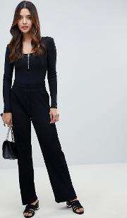 high waisted ribbed trouser