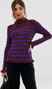 Rollneck Stripe Jumper With Frill Hems