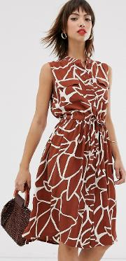 Sleeveless Abstract Print Dress With Utility Pockets