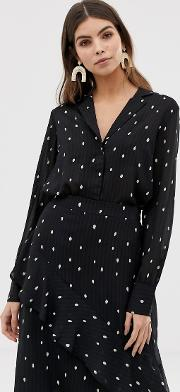 Spot Print Button Through Blouse
