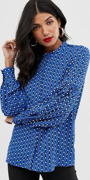 Geo Print Balloon Sleeve Blouse