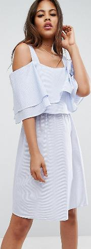 Pinstripe Cold Shoulder Dress With Ruffle Layer