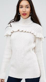 Ruffle Front Roll Neck Jumper