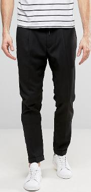 Slim Fit Trousers With Drawstring Waist