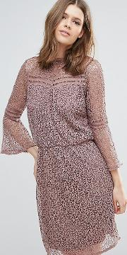 Stia  Over Lace Dress With Fluted Sleeve
