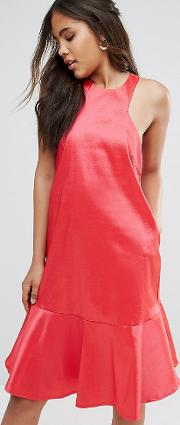 y.a.s studio tall high neck midi dress with fluted hem detail