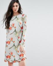 Y.a.s Tall Cactus Printed Dress With Frill Hem
