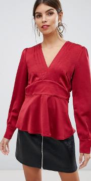 V Neck Blouse With Pleat Detail
