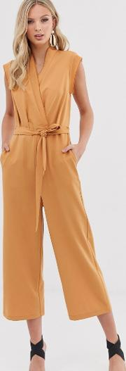 Wrap Sleevless Cropped Jumpsuit