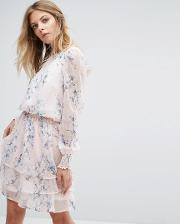 y.a.s floral print long sleeve dress