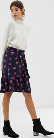 Yas Floral Wrap Skirt With Frill Hem